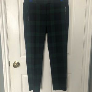 Plaid Trousers, Navy and Dark Green, Size 6